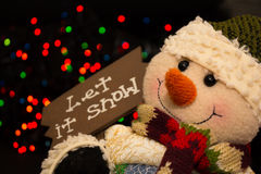 Snowman. Smiling Snowman with a message stock image