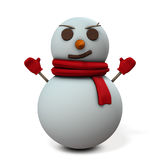 Snowman is smiling sarcastic. Stock Photo