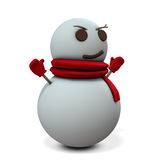 Snowman is smiling sarcastic. Stock Photography