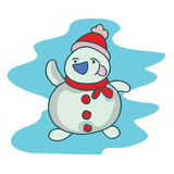Snowman smilling character vector art. Collection art Stock Image
