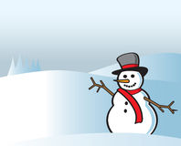 Snowman In the Snow Royalty Free Stock Photos