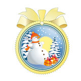 Snowman in snow Royalty Free Stock Images