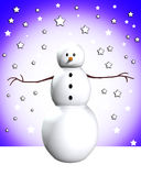 Snowman In Snow. Snowman that is surrounded by snow Stock Photo