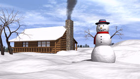 Snowman in the snow Royalty Free Stock Images