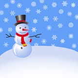 Snowman in the snow against the blue sky with snowflakes. Vector. Image Stock Images
