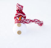 Snowman on snow background Royalty Free Stock Image