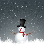 Snowman with snow background Royalty Free Stock Photos