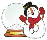 Snowman with snow ball Royalty Free Stock Image