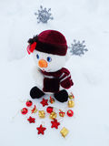 Snowman on snow christmas decoration Royalty Free Stock Image