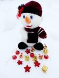 Snowman on snow christmas decoration Royalty Free Stock Photos