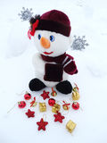 Snowman on snow christmas decoration Royalty Free Stock Photography