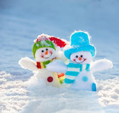 Snowman on snow Royalty Free Stock Images