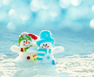 Snowman on snow. Christmas decoration. Winter Royalty Free Stock Photography