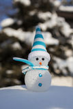 Snowman on snow. Christmas decoration. Stock Image