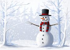 Snowman in a snow-covered forest. Winter illustration. Christmas and winter holidays. Stock Images