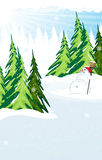 Snowman in a snow covered pine forest Royalty Free Stock Photography