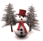 snowman and snow-covered trees - 3D vector illustration