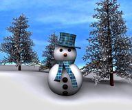 Snowman and snow-covered trees - 3D Royalty Free Stock Photos