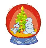 Snowman and snow-dog dress the Christmas tree - Happy New Year. Snowman and snow-dog are dressing Christmas tree in the magic snow sphere. Hand-drawn vector for stock illustration