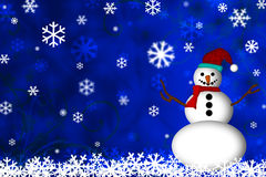 Snowman and Snow Flakes. Snowman and falling snow flakes with blue background Royalty Free Stock Image