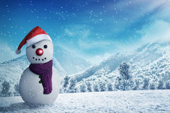 Snowman in the snow forrest Stock Photography