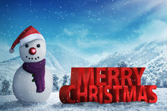 Snowman in the snow forrest Royalty Free Stock Photo
