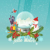 Snowman and snow globe, gifts on sleigh, ski poles Royalty Free Stock Photography