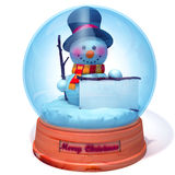 Snowman in snow globe with white panel  3d illustration Royalty Free Stock Image