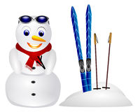 Snowman in snow isolated Royalty Free Stock Photos