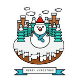 Snowman and snow land Stock Images