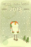 snowman and snow - postcard in retro style Royalty Free Stock Image