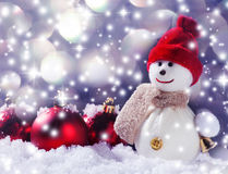 Snowman. On snow. Studio shot Royalty Free Stock Photo