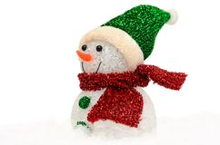 Snowman in snow on white background Royalty Free Stock Image