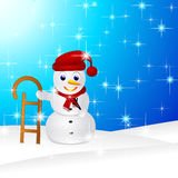 Snowman in snow Stock Image