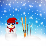 Snowman in snow Stock Photography