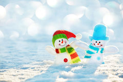 Snowman on snow at winter Royalty Free Stock Photos