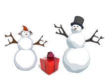 Snowman and snow woman with gift box. Happy snowman and snow woman with gift box royalty free illustration