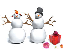 Snowman and snow woman with gift box. Happy snowman and snow woman with gift box Royalty Free Stock Photo