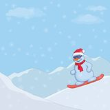 Snowman on a snowboard Royalty Free Stock Image