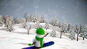 Snowman on snowboard. Loop animation stock video footage