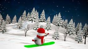 Snowman on snowboard. Loop animation stock footage