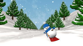 Snowman on snowboard. stock footage