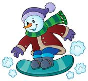 Snowman on snowboard theme image 1 Royalty Free Stock Photography