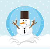 Snowman in snowfall Royalty Free Stock Photos