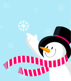 Snowman with snowflake. stock illustration