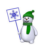 Snowman with snowflake 3d Royalty Free Stock Photography