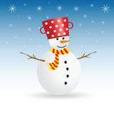Snowman with snowflake color vector illustration Stock Images