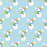 Snowman and snowflake pattern Stock Photography