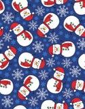 Snowman snowflake seamless pattern. Seamless pattern - snowman with snowflakes Vector Illustration