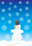Snowman and snowflakes Stock Images